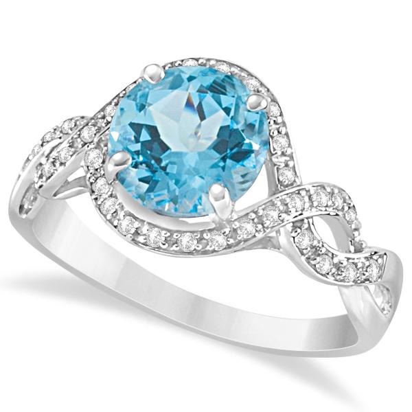 Swiss Blue Topaz Engagement Ring Twist Diamond Band 14k W Gold 2.43ct