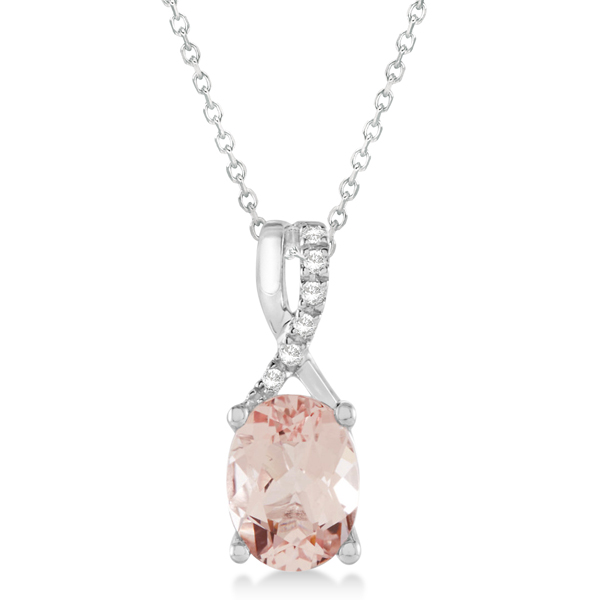 Oval Morganite Pendant Necklace Diamond Accented 14k White Gold 1.31ct