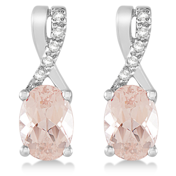 Oval Morganite Drop Earrings Diamond Accents 14k White Gold (1.71ct)