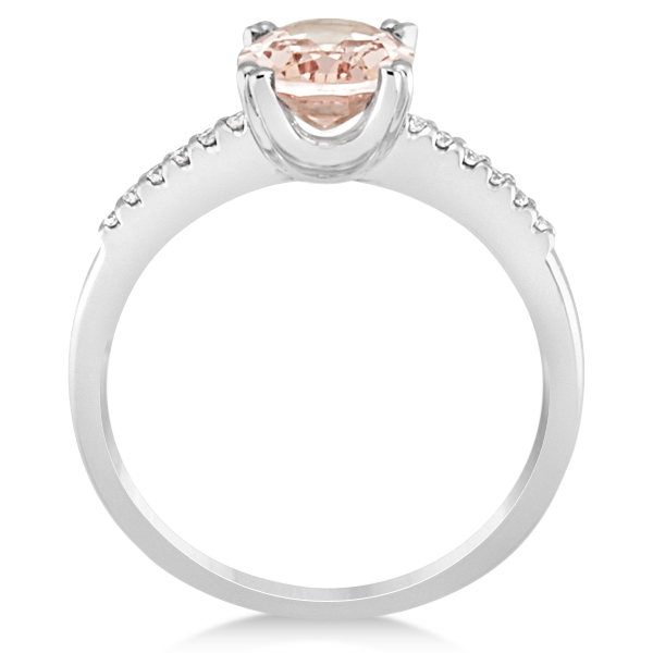 Oval Morganite Engagement Ring Diamond Accented 14k White Gold 1.90ct