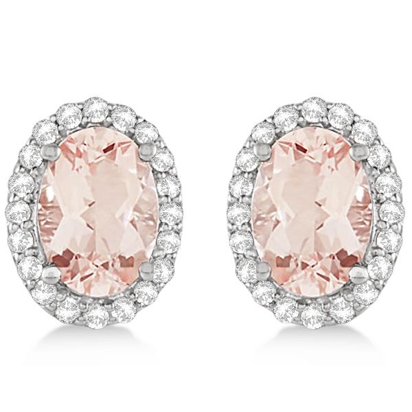 Oval Cut Morganite Stud Earrings Diamond Halo 14k White Gold (1.86ct)