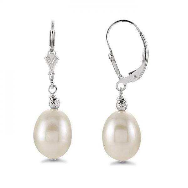 Cultured Freshwater Oval Shaped Pearl Drop Earrings Sterling Silver