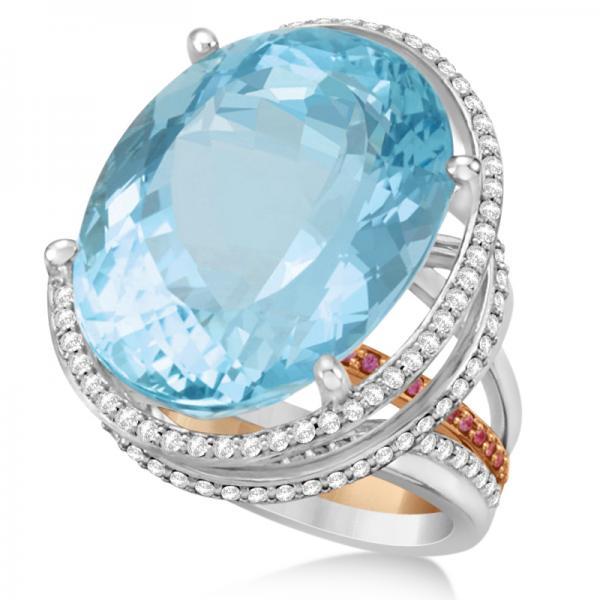 aquamarine engagement ring platinum 18k