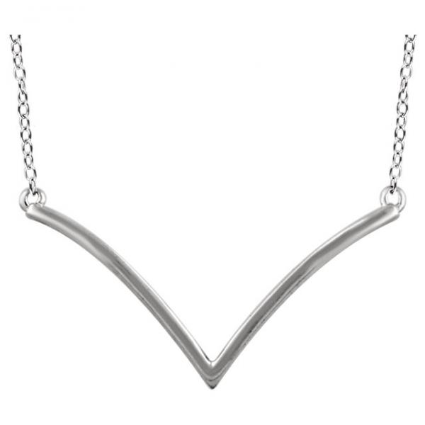 V Shaped Chevron Pendant Necklace Plain Metal 14k White Gold