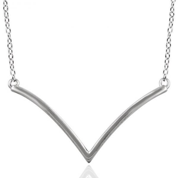 Chevron Pendant Necklace Plain Metal 14k White Gold