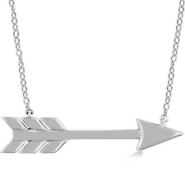 Cupid's Arrow Pendant Necklace Plain Metal 14k White Gold