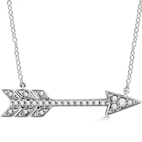 Cupid's Arrow Pendant Necklace Diamond Accented 14k White Gold 0.11ct