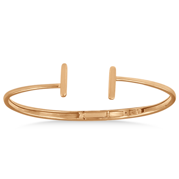 Hinged Cuff Bar T Bracelet In Plain Metal 14k