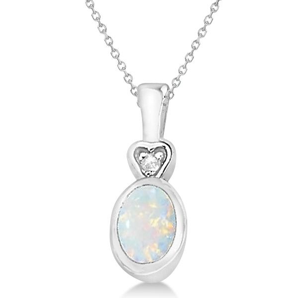 Bezel Set Opal Cabochon & Diamond Pendant in 14k White Gold (1.02ctw)