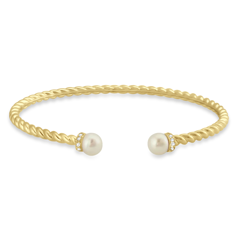 Diamond & Pearl Freshwater Cuff Bracelet 14k Yellow Gold (0.1ct)