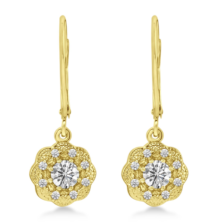 Moissanite & Diamond Leverback Floral Earrings 14k Yellow Gold (0.64 ctw)