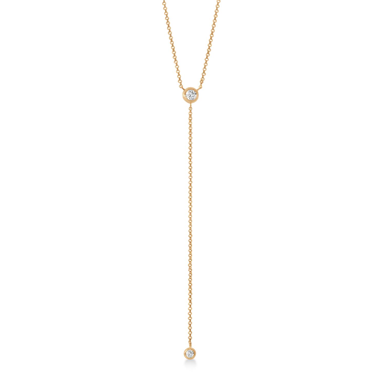 "Diamond ""Y"" Pendant Necklace 14k Rose Gold (0.20 ctw)"