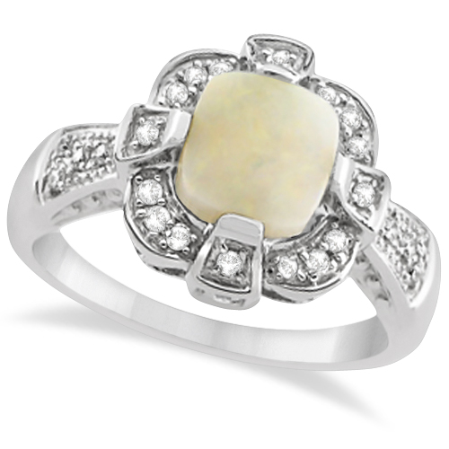 Diamond and Australian Opal Ring 14k White Gold (1.09ct)
