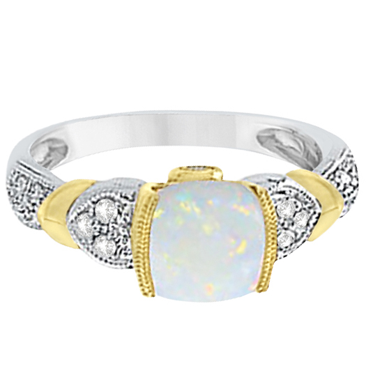 Tanzanite, Diamond and Opal Ring 14k Two-Tone Gold (1.10ct)