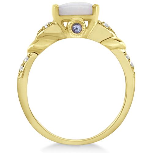 Tanzanite, Diamond and Opal Ring 14k Yellow Gold (1.10ct)
