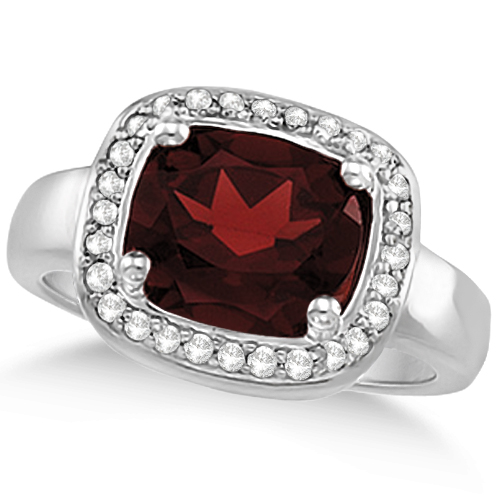 Halo Style Diamond and Garnet Ring 14k White Gold (3.28ct)