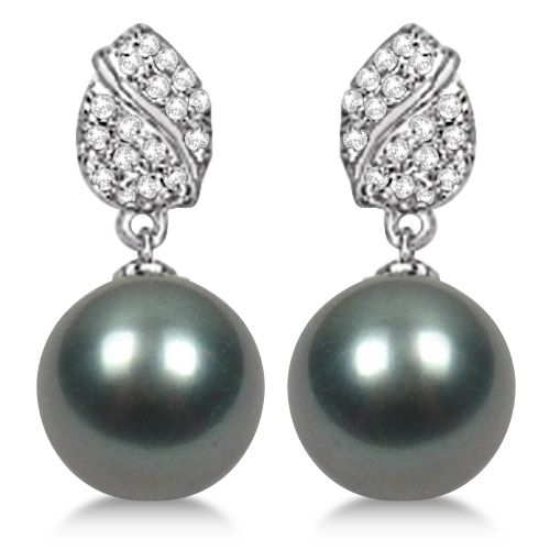 Grey Tahitian Cultured Pearl & Diamond Earrings 14K White Gold (12mm)