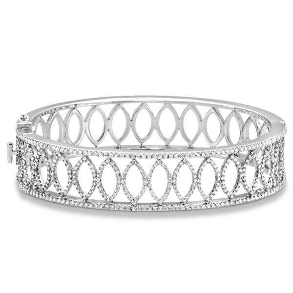 Luxury Diamond Bangle Bridal Bracelet 14k White Gold (5.25ct)