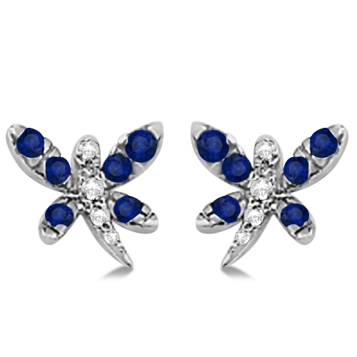 Blue Sapphire & Diamond Dragonfly Earrings 14K White Gold (0.54ctw)