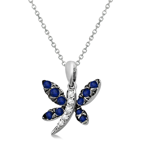 Blue Sapphire & Diamond Dragonfly Pendant 14K White Gold (0.40ctw)