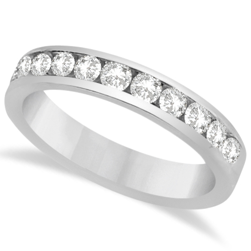 Channel Set Moissanite Anniversary Ring Band 14K White Gold 0.66ctw