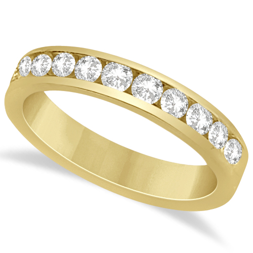 Channel Set Moissanite Anniversary Ring Band 14K Yellow Gold 0.66ctw