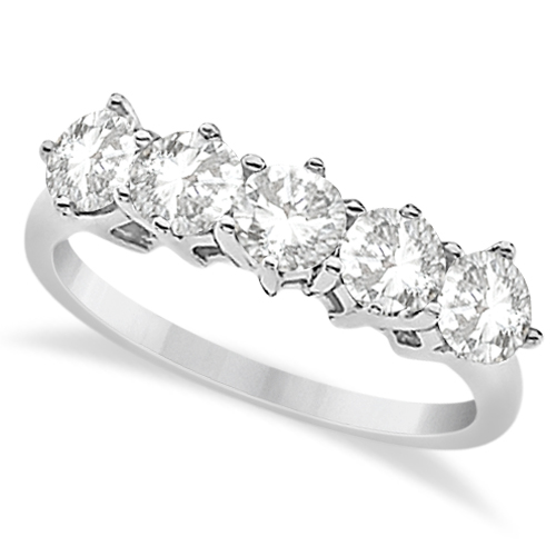 Shared Prong Five Stone Moissanite Anniversary Ring 14K W. Gold 1.25ctw