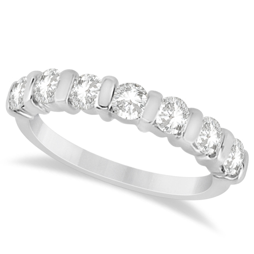 Bar Set 7 Stone Moissanite Ring Anniversary Band 14K W. Gold 0.75ctw
