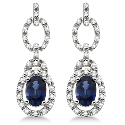 Drop Diamond and Blue Sapphire Earrings 14k White Gold (1.55ct)