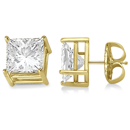 4 Prong Moissanite Square Shape Stud Earrings 14K Yellow Gold 0.75ctw