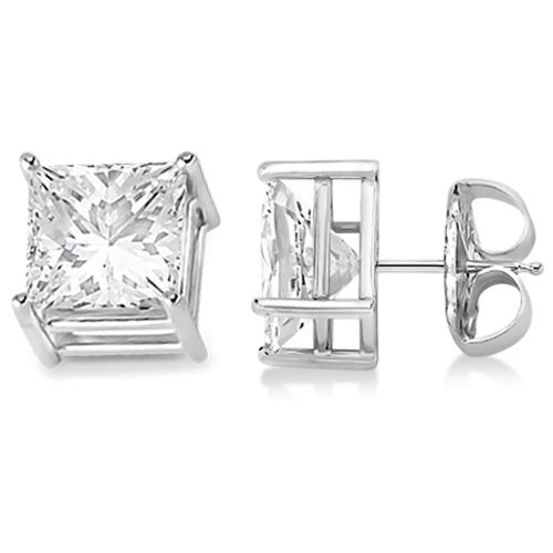 4 Prong Moissanite Square Shape Stud Earrings 14K White Gold 2.50ctw