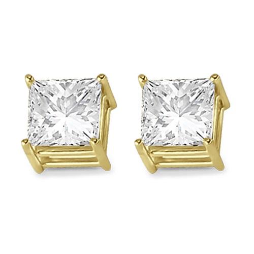 4 Prong Moissanite Square Shape Stud Earrings 14K Yellow Gold 2.50ctw