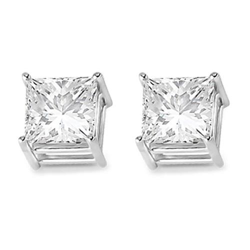 4 Prong Moissanite Square Shape Stud Earrings14K White Gold 4.00ctw