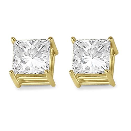 4 Prong Moissanite Square Shape Stud Earrings14K Yellow Gold 4.00ctw