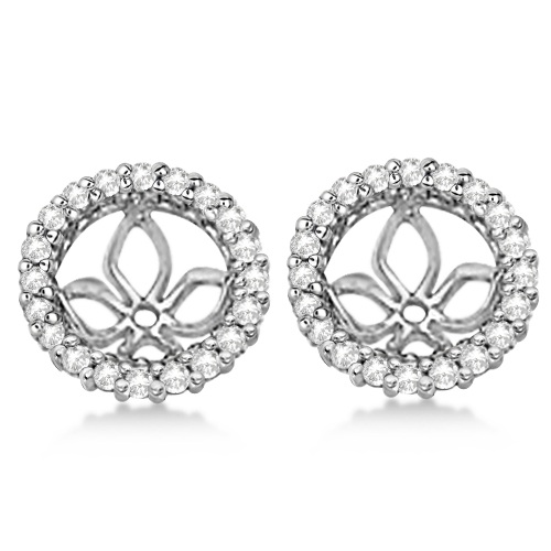 Diamond Earring Jackets for Pearl Studs 14K White Gold (0.63ct)