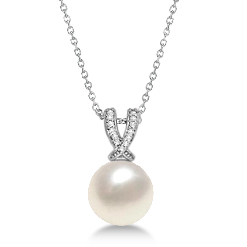 Paspaley Cultured South Sea Pearl & Diamond Pendant 14K White Gold (12mm)