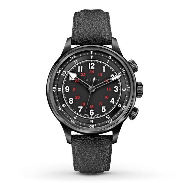 Men's Bulova AccuSwiss Automatic Watch w/ Black Dial & Leather Strap