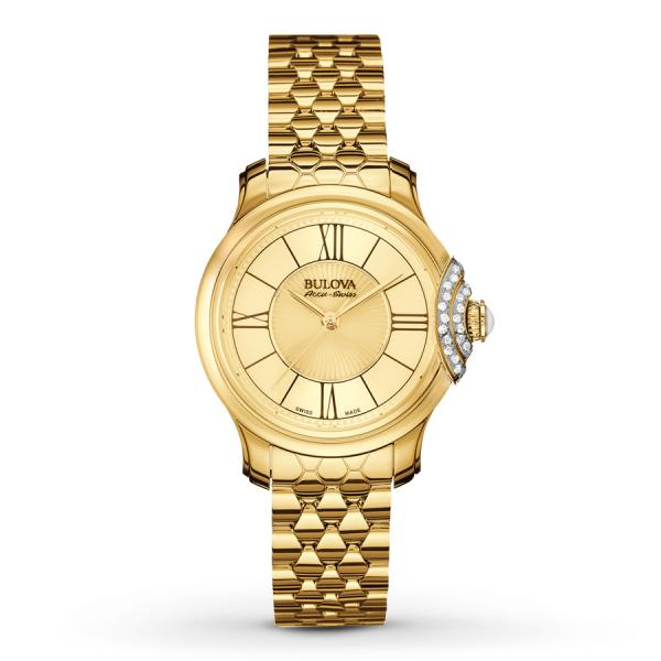 Women's Bulova Watch Gold Tone Stainless Steel Quartz with Diamonds