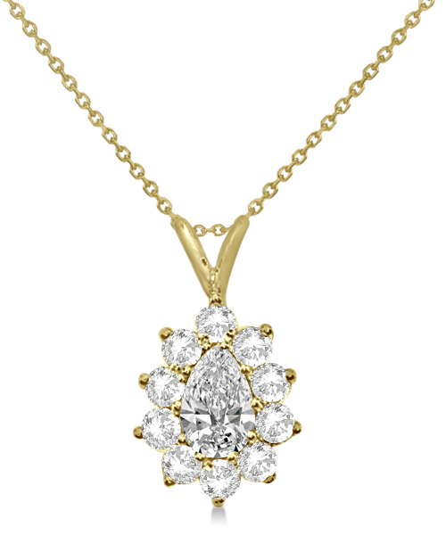 Pear Cut Moissanite Halo Pendant Necklace 14K Yellow Gold 1.50ctw