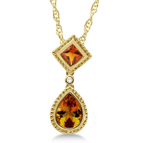 Diamond & Pear Citrine Pendant Necklace 14k Yellow Gold (1.29ct)
