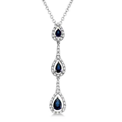 Triple Pear Blue Sapphire & Diamond Pendant 14k White Gold (0.86ct)