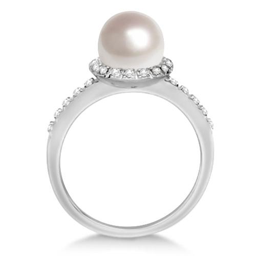 Halo Freshwater Pearl & Diamond Ring 14K White Gold 0.20ctw (8mm)