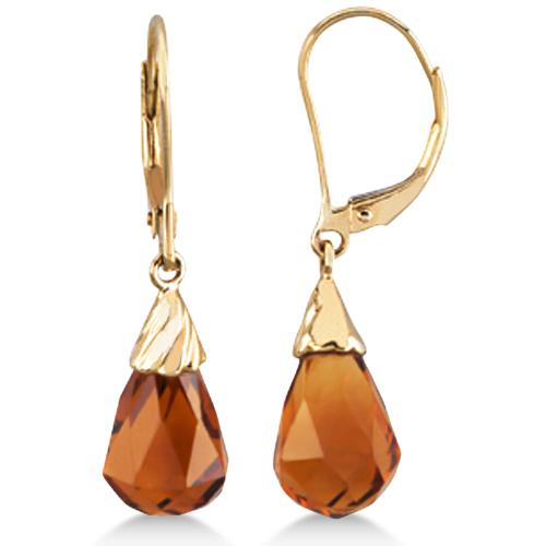 Lever Back Madeira Citrine Briolette Earrings 14k Yellow Gold (8.60ct)