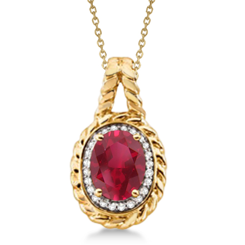 Diamond and Oval Citrine Pendant Necklace 14k Yellow Gold (1.77ct)