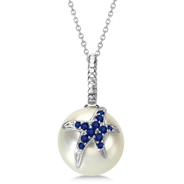 South Sea Pearl Pendant w/ Sapphire Accented Starfish  14K White Gold 0.25cw