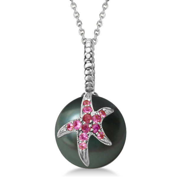 Tahitian Cultured Pearl Starfish Pendant w/ Pink Sapphires 14k White