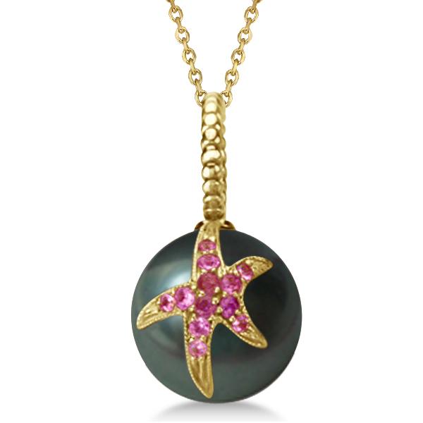 Tahitian Cultured Pearl Starfish Pendant w/ Pink Sapphires 14k Yellow