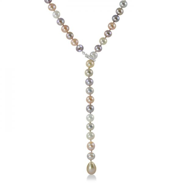 Freshwater Pearl Lariat Necklace Sterling Silver Diamond Clasp 8-8.5mm