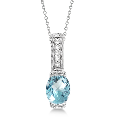 Antique Diamond & Aquamarine Pendant Necklace 14k White Gold (1.10ct)