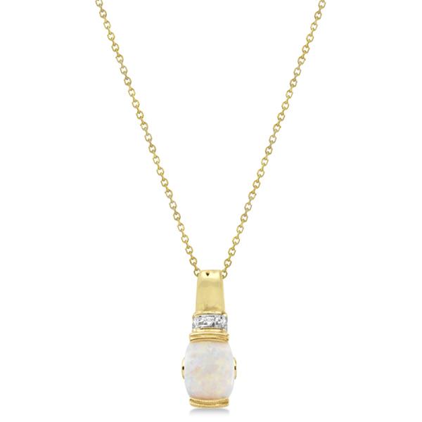 Opal Pendant with Pink Tourmaline & Diamonds 14K Yellow Gold 1.29ctw